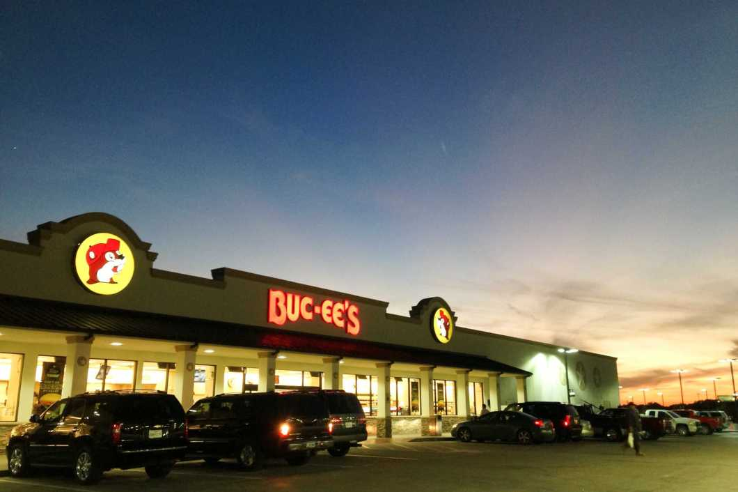 The sun sets over Buc-ee's in Luling, Texas, on Tuesday, October 8, 2013.