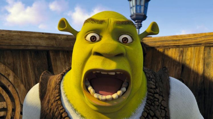 Film: Shrek (2001). Shrek (MIKE MYERS) is unduly alarmed in Dre