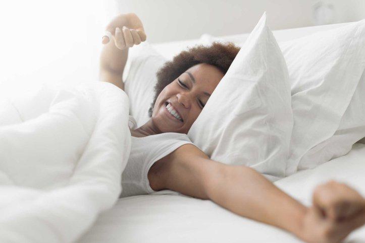 Beautiful woman waking up